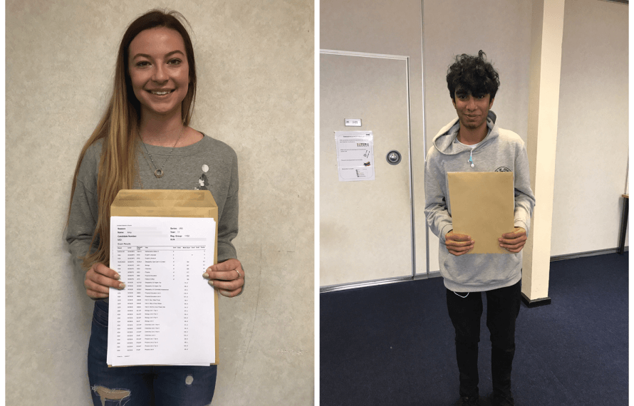 Exam results for top students